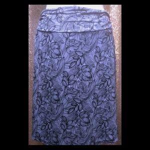 Dakini Grey & Black Leaves Soft Skirt Small Petite